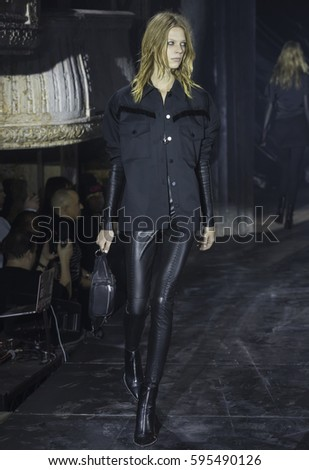 NEW YORK, NY - FEBRUARY 11, 2017: Lexi Boling walks the runway at the Alexander Wang Fall Winter 2017 fashion show during New York Fashion Week