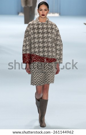 NEW YORK, NY - FEBRUARY 16: Model Irina Sharipova walks the runway wearing Carolina Herrera Fall 2015 Collection during MBFW at Lincoln Center on February 16, 2015 in NYC - stock photo
