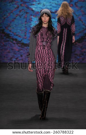 NEW YORK, NY - FEBRUARY 18: Model Issa Lish walks the runway at the Anna Sui fashion show during MBFW Fall 2015 at Lincoln Center on February 18, 2015 in NYC - stock photo