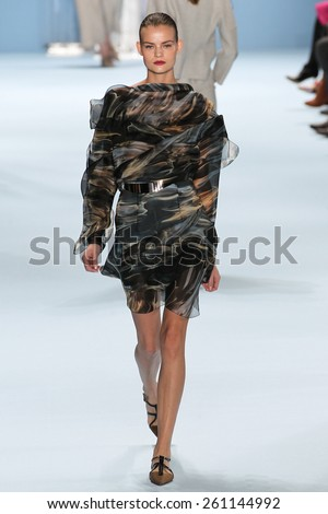 NEW YORK, NY - FEBRUARY 16: Model Kate Grigorieva walks the runway wearing Carolina Herrera Fall 2015 Collection during MBFW at Lincoln Center on February 16, 2015 in NYC - stock photo