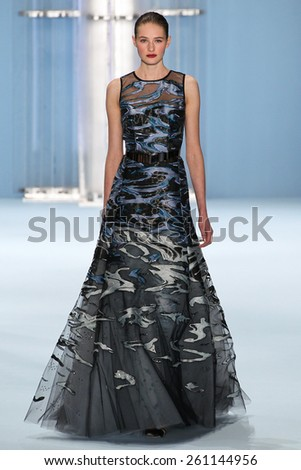 NEW YORK, NY - FEBRUARY 16: Model Sanne Vloet walks the runway wearing Carolina Herrera Fall 2015 Collection during MBFW at Lincoln Center on February 16, 2015 in NYC - stock photo