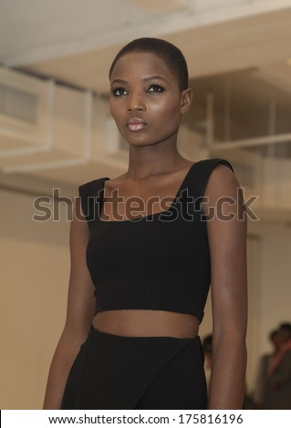 NEW YORK, NY - FEBRUARY 09, 2014: Model shows off dress during Deola Sagoe presentation for Deola at  Fall/Winter 2014 Fashion week at Location 05 studio