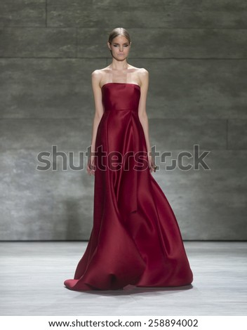 New York, NY - February 16, 2015: Model walks runway for collection by Angel Sanchez during Fall 2015 Fashion Week in Lincoln Center - stock photo