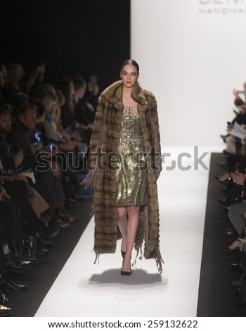 New York, NY - February 16, 2015: Model walks runway for Dennis Basso collection during Fall 2015 Fashion Week at Lincoln Center - stock photo