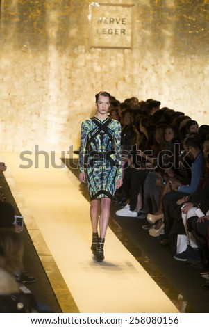 New York, NY - February 14, 2015: Model walks runway for Herve Leger collection by Max Azria at Fall 2015 Fashion Week at Lincoln Center - stock photo