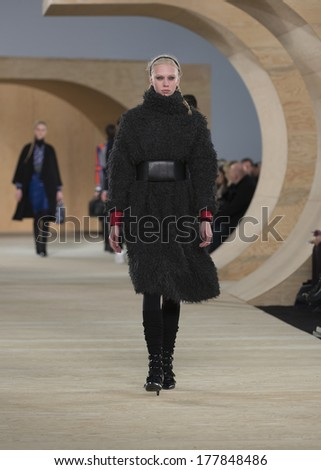 NEW YORK, NY - FEBRUARY 11, 2014: Model walks runway for Marc by Marc Jacobs presentation by Luella Bartley and Katie Hillier at Fall/Winter 2014 Fashion week in Pier 36
