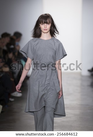 New York, NY - February 12, 2015: Model walks runway for Marissa Webb collection during Fashion Week Fall 2015 at Milk Studios