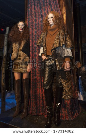 NEW YORK, NY - FEBRUARY 10, 2014: Models show off dress for Enchanted... A Mid Winter Night's Dream presentation by Stacey Bendet at New York Fall/Winter 2014 Fashion Week at McKittrick Hotel