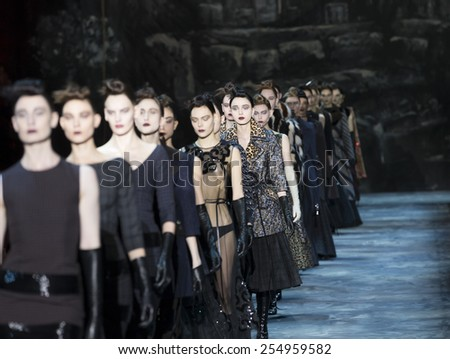 New York, NY - February 19, 2015: Models walk runway for Marc Jacobs during Fall 2015 Fashion Week at Park Avenue Armory - stock photo