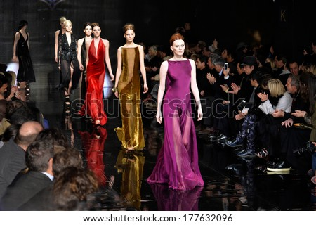 NEW YORK, NY - FEBRUARY 10: Models walk the runway at Donna Karan New York 30th Anniversary during Mercedes-Benz Fashion Week Fall 2014 at 23 Wall Street on February 10, 2014 in New York City.  - stock photo