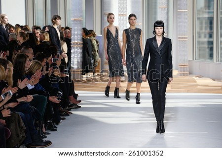 NEW YORK, NY - FEBRUARY 18: Models walk the runway finale at the Boss Womens fashion show during Mercedes-Benz Fashion Week Fall on February 18, 2015 in NYC. - stock photo