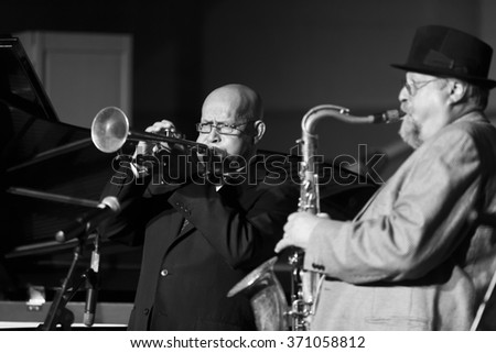 New York, NY - January 14, 2016: Eddie Henderson, Joe Lovano at charity concert Jazz Legends for Disability Pride during Winter Jazz festival at Quaker Friends Meeting Hall