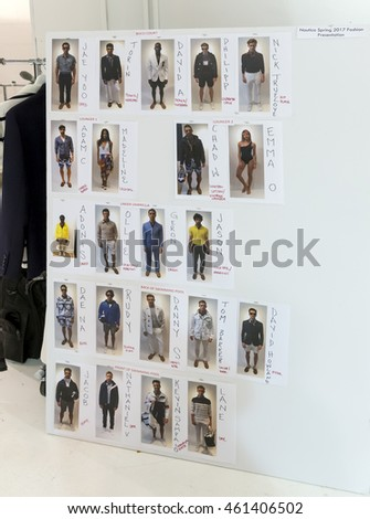 NEW YORK, NY - JULY 13, 2016: A view of the chart for the Nautica Men's S/S 2017 fashion presentation during New York Fashion Week Men's
