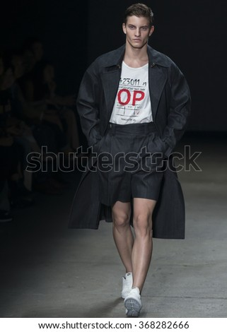 NEW YORK, NY - JULY 14, 2015: Benjamin Benedek walks the runway during the Concept Korea show at New York Fashion Week Men's S/S 2016 at Skylight Clarkson Sq - stock photo