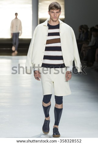 NEW YORK, NY - JULY 16, 2015: Benjamin Benedek walks the runway during the Perry Ellis show at New York Fashion Week Men's S/S 2016 at Skylight Clarkson Sq