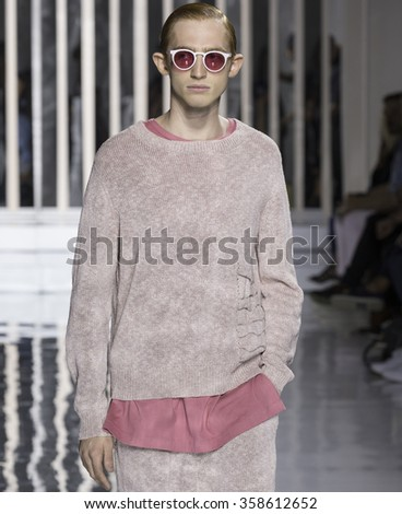 NEW YORK, NY - JULY 14, 2015: Charlie Ayres Taylor walks the runway during the Rochambeau show at New York Fashion Week Men's S/S 2016 at Skylight Clarkson Sq - stock photo
