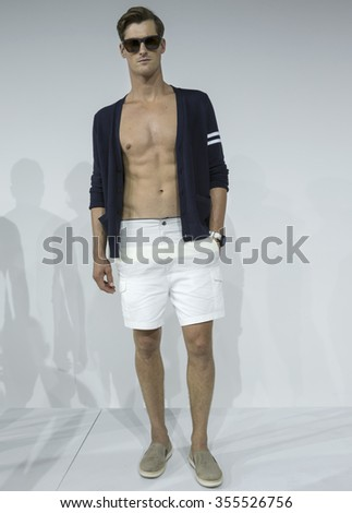 NEW YORK, NY - JULY 15, 2015: Sean Van Schoor poses at the Nautica presentation during the New York Fashion Week Men's S/S 2016 at Skylight Clarkson Sq