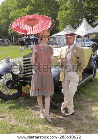 New York, NY - June 14, 2015: Atmosphere during 10th annual Jazz Age lawn party by Michael Arenella & Dreamland Orchestra on Governors Island - stock photo