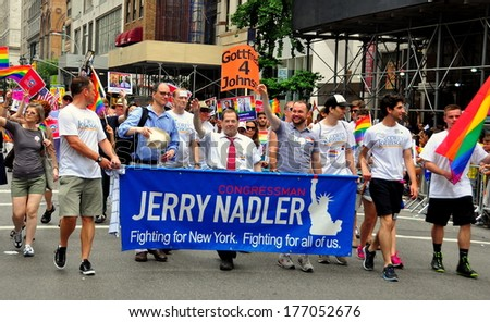 New York, NY - June 30, 2013: Congressman Jerry Nadler (center in red tie) and group marching in the annual Gay Pride Parade on Fifth Avenue - stock photo