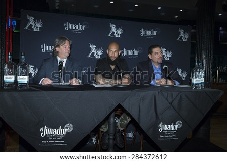 New York, NY - June 04, 2015: Conrad Roncati, Soccer player goalkeeper Tim Howard and Ed Carias attend the Tequila el Jimador Press Conference at Bounce Sporting Club - stock photo