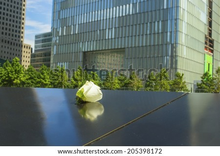 NEW YORK, NY - JUNE 23, 2014: Single white roses placed near the names of loved ones who died on 9/11. Victims names are inscribed in the bronze parapets where the two World Trade Centers once stood. - stock photo