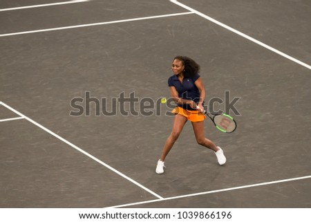 New York, NY - March 5, 2018: Venus Williams returns ball during 1st USA Tie Break Tens tournament at Madison Square Garden