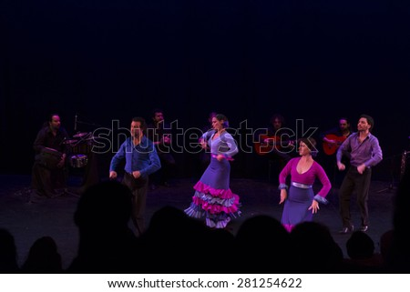 NEW YORK, NY - MAY 23, 2015: Flamenco Vivo Carlota Santana company performs A Solas on stage at Brooklyn Academy of Music Fisher - stock photo