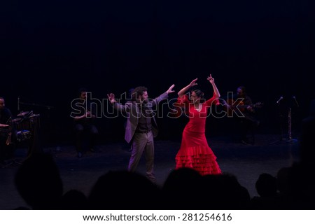NEW YORK, NY - MAY 23, 2015: Flamenco Vivo Carlota Santana dancers Isaac Tovar and Eliza Llewellyn perform Majestuoso on stage at Brooklyn Academy of Music Fisher - stock photo