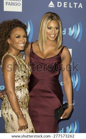 New York, NY - May 9, 2015: Janet Mock and Laverne Cox attends 26th Annual GLAAD Media Awards at Waldorf Astoria - stock photo