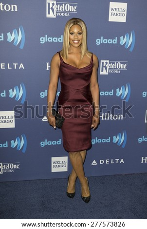New York, NY - May 9, 2015: Laverne Cox attends 26th Annual GLAAD Media Awards at Waldorf Astoria - stock photo