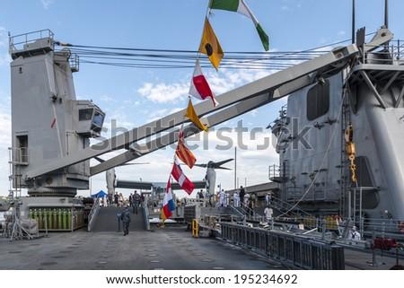 New York, NY - May, 26: On Board the USS Oak Hill Navy Battleship during Fleet Week 2014 - stock photo