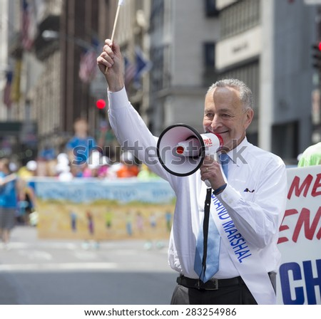 NEW YORK, NY - MAY 31, 2015: US Senator Chuck Schumer attends Celebrate Israel Parade on 5th avenue in Manhattan - stock photo
