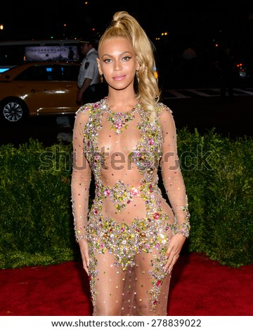 New York, NY  Monday May 04, 2015: Beyonce Knowles attends 'China: Through The Looking Glass' Costume Institute Gala, held at the Metropolitan Museum of Art in New York City, New York. - stock photo