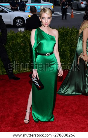 New York, NY  Monday May 04, 2015: Emma Roberts attends 'China: Through The Looking Glass' Costume Institute Gala, held at the Metropolitan Museum of Art in New York City, New York. - stock photo