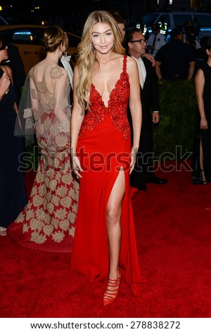 New York, NY  Monday May 04, 2015: Gigi Hadid attends 'China: Through The Looking Glass' Costume Institute Gala, held at the Metropolitan Museum of Art in New York City, New York. - stock photo