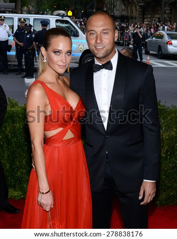 New York, NY  Monday May 04, 2015: Hannah Davis and Derek Jeter attend'China: Through The Looking Glass' Costume Institute Gala, held at the Metropolitan Museum of Art in New York City, New York. - stock photo