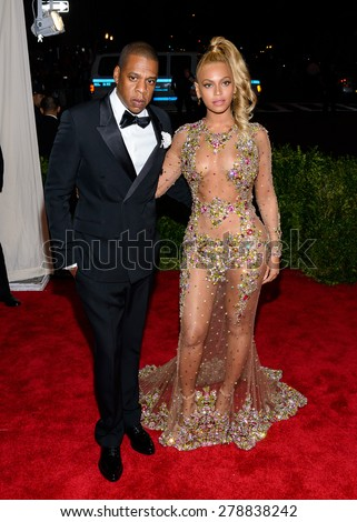 New York, NY  Monday May 04, 2015: Jay Z aka Sean Carter and Beyonce Knowles attend 'China: Through The Looking Glass' Costume Institute Gala, held at the Metropolitan Museum of Art. - stock photo