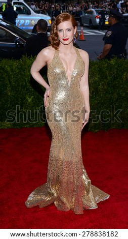 New York, NY  Monday May 04, 2015: Jessica Chastain attends 'China: Through The Looking Glass' Costume Institute Gala, held at the Metropolitan Museum of Art in New York City, New York. - stock photo