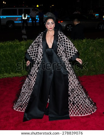 New York, NY  Monday May 04, 2015: Lady Gaga attends 'China: Through The Looking Glass' Costume Institute Gala, held at the Metropolitan Museum of Art in New York City, New York. - stock photo