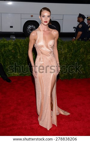 New York, NY  Monday May 04, 2015: Rosie Huntington Whitely attends 'China: Through The Looking Glass' Costume Institute Gala, held at the Metropolitan Museum of Art in New York City, New York. - stock photo
