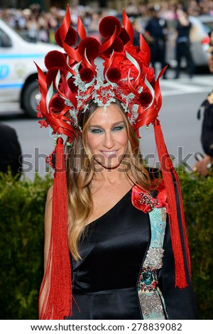 New York, NY  Monday May 04, 2015: Sarah Jessica Parker attends 'China: Through The Looking Glass' Costume Institute Gala, held at the Metropolitan Museum of Art in New York City, New York. - stock photo