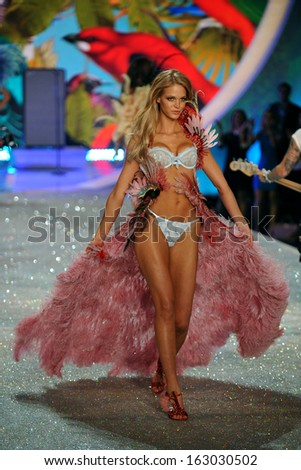 NEW YORK, NY - NOVEMBER 13: Erin Heatherton walks in the 2013 Victoria's Secret Fashion Show at Lexington Avenue Armory on November 13, 2013 in New York City.