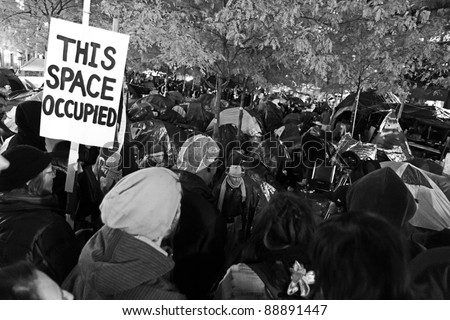 NEW YORK, NY - NOVEMBER 12: Leaders of the Occupy Wall Street Movement gives a speech to the people of New York city. November 12, 2011 - stock photo
