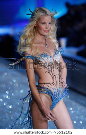 NEW YORK, NY - NOVEMBER 09: Model Caroline Winberg walks the runway during the 2011 Victoria's Secret Fashion Show at the Lexington Avenue Armory on November 9, 2011 in New York City. - stock photo