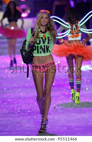 NEW YORK, NY - NOVEMBER 09: Model Elsa Hosk walks the runway during the 2011 Victoria's Secret Fashion Show at the Lexington Avenue Armory on November 9, 2011 in New York City. - stock photo
