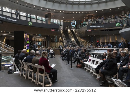New York, NY - November 9, 2014: US Congressman Jerry Nadler speaks at opening ceremony of Fulton Center unveiled by Metropolitan Transit Authority during opening ceremony on Broadway in Manhattan - stock photo