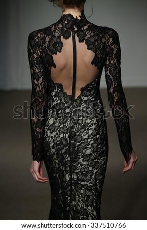 NEW YORK, NY - OCTOBER 11: A model walks at Anna Maier Bridal Fall/Winter 2016 Runway Show on October 11, 2015 in New York City. - stock photo