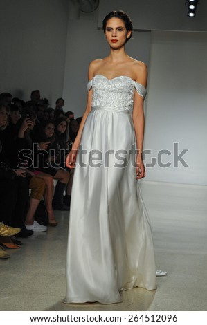 NEW YORK, NY - OCTOBER 10: A model walks runway at Kelly Faetanini runway Show during Fall 2015 Bridal Collection at EZ Studios on October 10, 2014 in NYC.