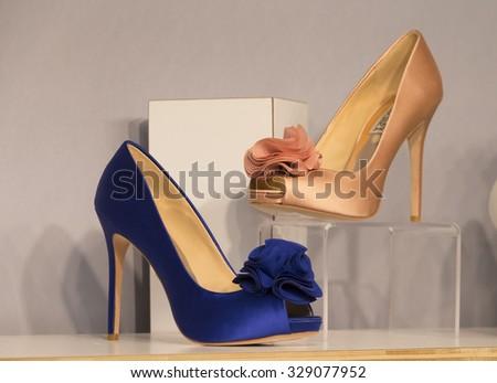 New York, NY - October 11, 2015: Bridal shoes by Badgley Mischka on display during Spring 2016 Bridal week at Pier 94 - stock photo