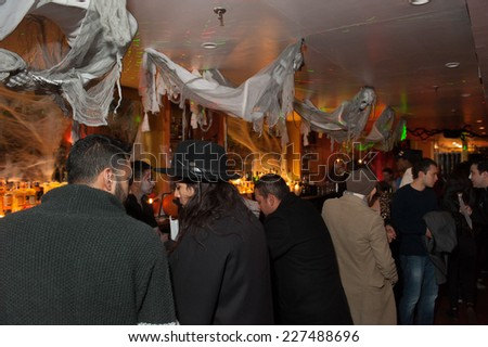 NEW YORK, NY - OCTOBER 31: General atmosphere at The Fashion Party during Halloween event at the West Village Crema Restaurant on October 31, 2014 in New York City. - stock photo